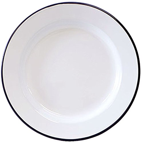 Amazon.com | Crow Canyon Enamelware - Dinner Plate -Solid White with Black Rim Dinner Plates  sc 1 st  Amazon.com & Amazon.com | Crow Canyon Enamelware - Dinner Plate -Solid White with ...