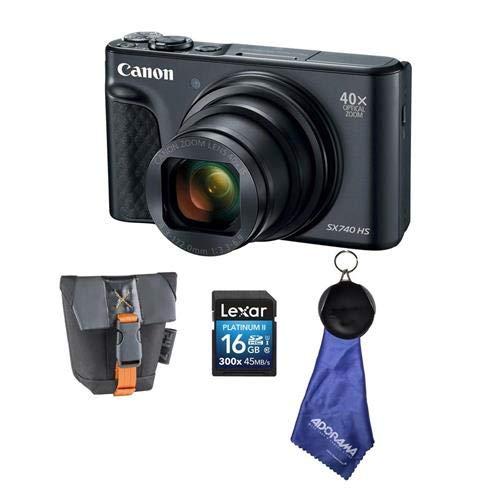 Canon PowerShot SX740 HS デジタルカメラ、ブラックバンドル カメラケース付き 16GB SDHCカード マイクロファイバークロス   B07GN83KZZ