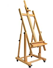 """MEEDEN Extra Large Heavy-Duty H-Frame Studio Easel - Versatile Solid Beech Wood Artist Professional Easel, Adjustable Painting Easel Stand with 4 Premium Locking Silent Caster Wheels, Hold Max 82"""""""