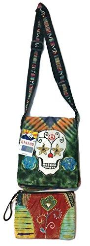 (Tie Dye Sugar Skull Cross Body Small Messenger Shoulder Bag & Coin Money Purse Bundle Patchwork Embroidered)