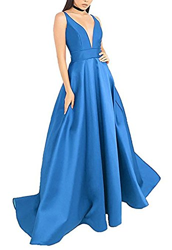 Long Evening Wome's Neck Satin Formal Blue Prom V Dress Pockets with Deep Dress Dressylady Hwdq0zH