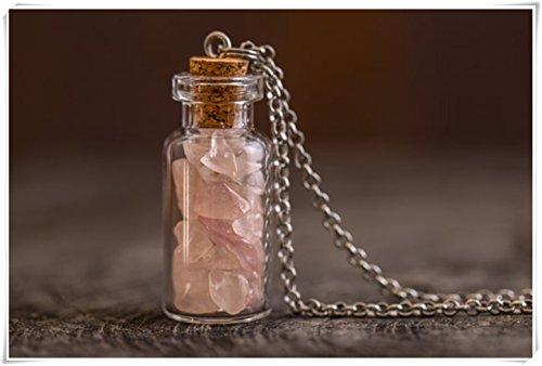 Pink Rose Quartz Love Gemstone Vial Globe Necklace - Quartz Chips - Genuine (Gemstone Quartz Globe)