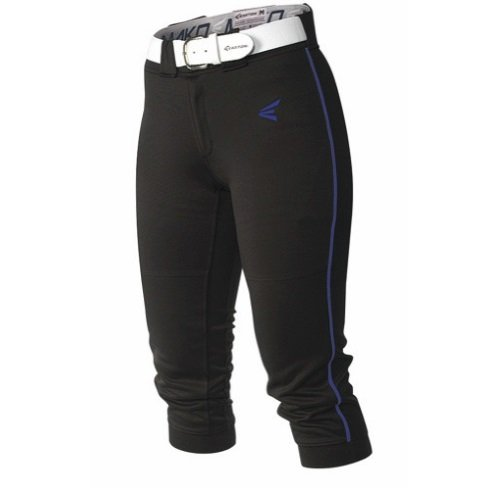Easton Women's Mako Piped Pants, Black/Royal, Small Fastpitch Pant