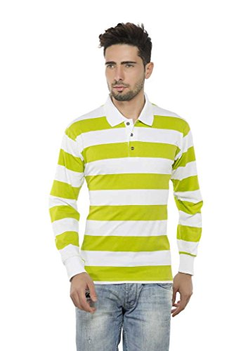 Clifton Mens Bold Stripes Full Sleeve Collar Polo T-Shirt-Parrot Green-S