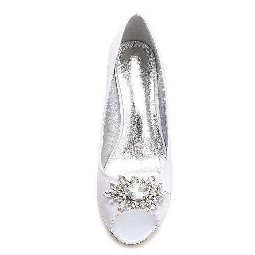 Women L Silver F17061 Satin Dress Ladies Rhinestone Buckle Party With Ballroom YC Shoes Shoes 57 Wedding 5SxfBS