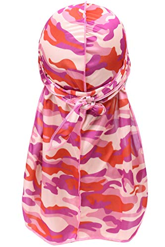 - YI HENG MEI 2PCS/3PCS Camouflage 360,540,720 Waves Long Tail Wide Straps Durag Bandana (Pink Purple)