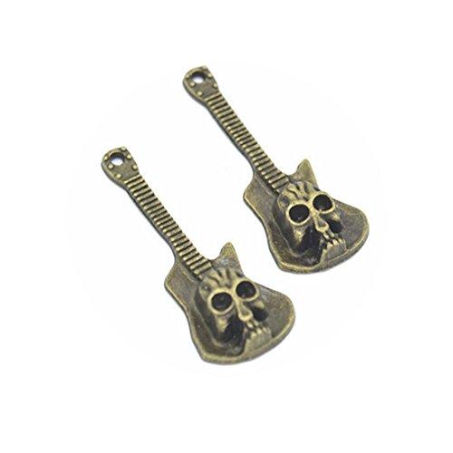 5 PCS Skull Pendant , Guitar Skull Charm Pendant, Bronze or silver (Skull Guitar Pendant)
