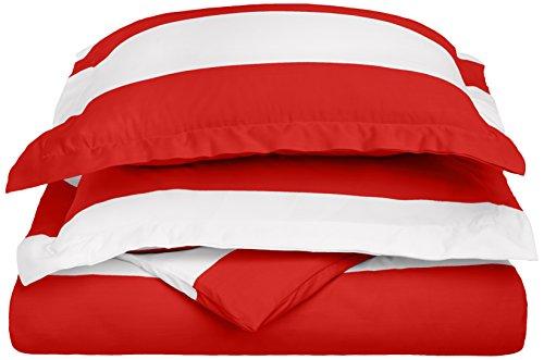 Cabana Stripe Kids Wrinkle Resistant Cotton Blend 600 Thread Count Full/Queen 3-PieceDuvet Cover Set, Red