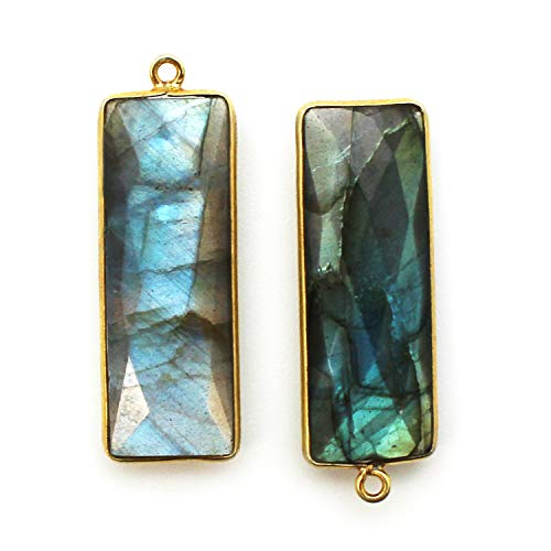 Bezel Charm Pendant-Vermeil Charm-Gold Plated Gemstone Charm Pendant-Labradorite -Elongated Rectangle Shape-34 by 11mm-(2 pcs)- ()