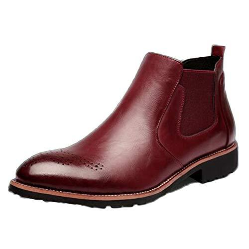 snfgoij Chelsea Boots Uomo Nero Pelle Matrimonio Sicurezza Brogue Classico Stivaletti Primavera Bullock Intagliato Scarpe Alte Casual Red