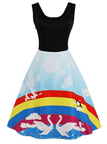 Kimring Robe Swing Élégant Été Décontracté Col Rond Manches Vintage Femmes Multi-couleurs