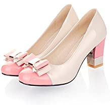 Ronald Turner Ladies Shoes Pumps Round Toe Basic Office High Heels Shoes Women Bow Shoes Plus Size 9 10