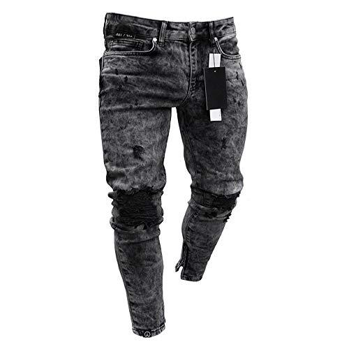 Huateng Déchirés Aux Jeans Fermeture À Avec Slim Ajustés Pour Pieds Hommes Glissière fRxfICrwqn