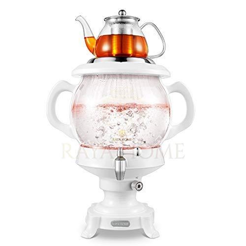 The Original -RAYA Glass Electric Samovar Modern Tea Maker, White   4.5 Ltr/155 oz   Persian Samovar  Russian Samovar   Turkish Samovar ()