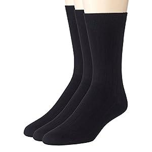 Sportoli Men's 3 Pack Super Soft Ribbed Knit Classic Cotton Bamboo Mid-Calf Crew Dress Socks - Black (10-13)