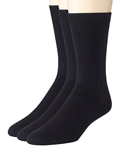 Sportoli Men's And Boy's 3 Pack Super Soft Ribbed Knit Classic Cotton Bamboo Mid-Calf Crew Dress Socks - Black (Ribbed Diabetic Socks)