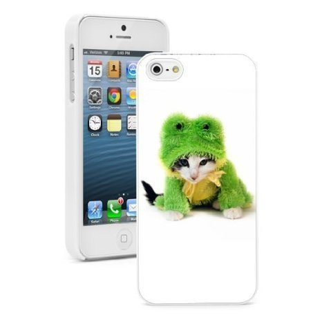 Kittens Cute In Costumes (Apple iPhone 6 6s Hard Color Back Case Cover Protector Cute Kitten in Frog Costume (White))