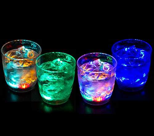 Light Up Drinking Glasses - Liquid Activated Multicolor LED Lowball Glasses