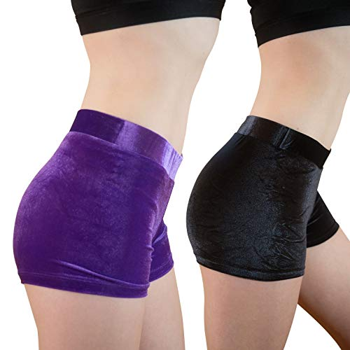goldFOXgear Set of 2 Girl's/Teen's Soft Velvety Gymnastic Shorts|Bonus 2 Matching Grip Bags|nonpinching Band| Dance Shorts | Playground Shorts | Bike Shorts (Wild Purple/Midnight Black, Youth Medium)
