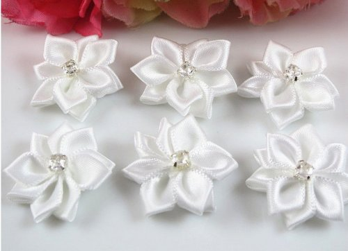 YAKA 60pc Satin the Ribbon Flowers with the Appliques Craft DIY Wedding to White (Satin Embellishments Flower)