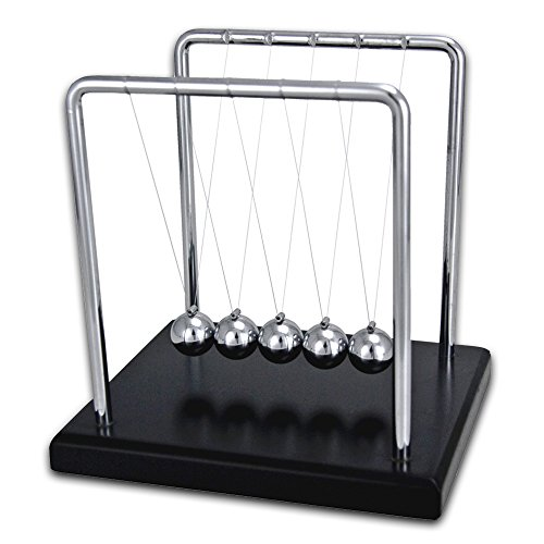 Newton's Cradle Balance Balls Desk Set -- Art in Motion (5 Stainless Steel Pendulum Balls, 7 1/4-Inch Frame, Black (Balance Set)