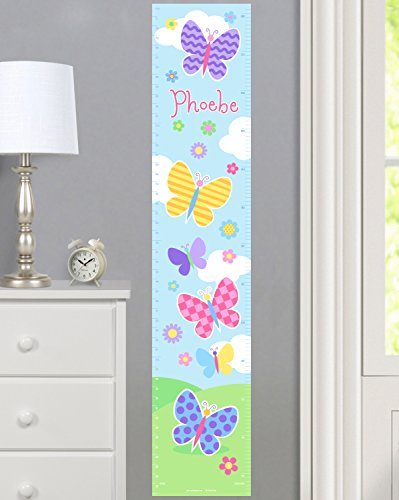 Butterfly Garden Personalized Wall Decal Growth Chart By Olive Kids - Personalized Butterfly Garden