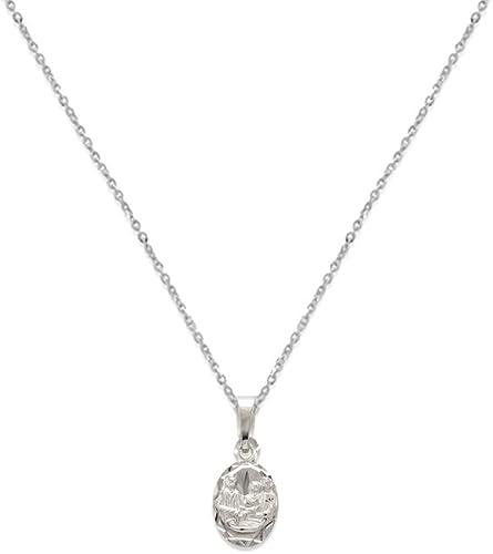 14, 15, 16, 18, 20 White Gold or Tri Color Gold Charm DC Baptism Scapular Pendant Necklace 14K Gold