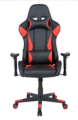 AmazonBasics Gaming Office Chair - Racing Style Seat with Headrest and Firm Lumbar Support - Red (Best Gaming Chair Brands)