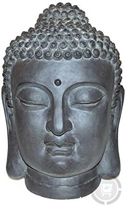 Stone-Lite Figura para jardín - Cabeza de Buda - Resistente a la ...