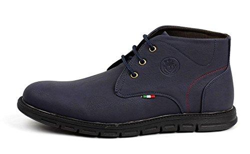 JAS Moderno Hombres Con Cordones Chelsea Elegante Tobillo Retro Botas Casual Confort Zapatos de oficina Azul Marino