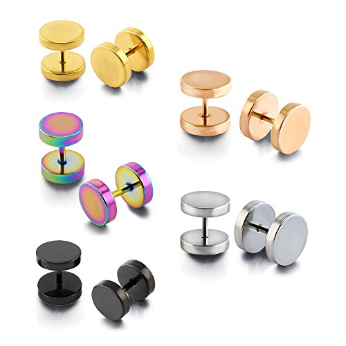 5 Pairs Mixed Color Solid Round Fake Ear Plugs Cartilage Helix Conch Earring Studs (9mm x 5 (Fake Gold Fronts)