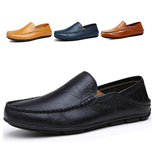 Lapens Men's Driving Shoes Premium Genuine Leather Fashion Slipper Casual Slip On Fashion Sneakers Breathable Mules Sandals Loafers Shoes LPMLFS137-Bl43