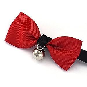 Sannysis Adjustable Dog Cat Pet Bow Tie Puppy Bell Necktie Collar (Red)