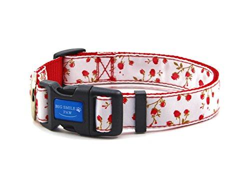 BIG SMILE PAW Nylon Dog Collar Adjustable,Flower Theme