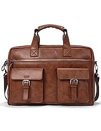 Briefcase for Men Leather 15.6 Inch Laptop Slim Business Shoulder Vintage Message Bags Brown