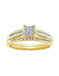 AFFY White Natural Diamond Square Center Bridal Set Ring in 10K Solid Gold