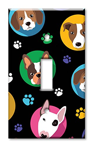 Art Plates Brand Single Toggle Switch / Wall Plate - Dog Heads