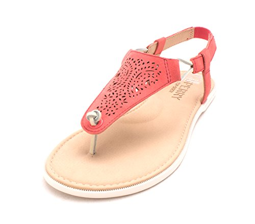 Flache Leger Leder Frauen Zeh Offener Of Sperry Sharon Sandalen Rose xq7OtX1