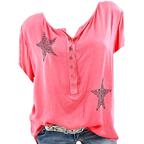 (Lovor Plus Size Women's Henley Shirts Casual Short Sleeve Side Twist Knotted Tops Five-Pointed Star Blouse Tunic T Shirts (Red,S))