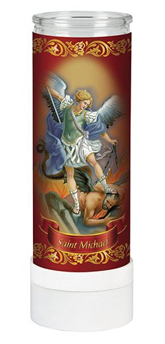 (Religious Saint Michael the Arcahngel electric prayer flameless LED light adoration candle (8