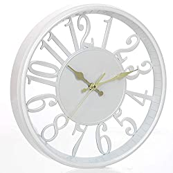 Tiords Decorative White 12 Analog Quarts Kitchen Wall Clocks, Battery Operated for Living Room Office Decor Walls