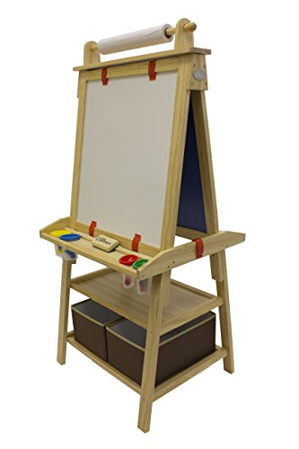 Natural Partners - Little Partners Deluxe Art Easel (Natural) - Two Sided A-Frame Paint Easel, Chalk Board & Magnetic Dry Erase - w/Storage, Supply Holder & Paper Feed - Art Station & Educational Tool for Toddlers