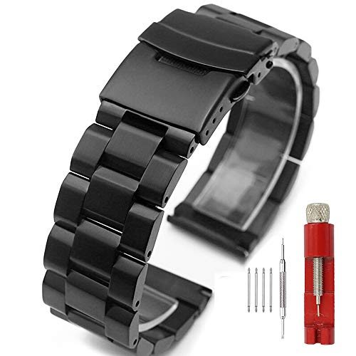 Black Stainless Steel Watch Bands Brushed Finish Watch Strap 18mm/20mm/22mm/24mm Double Buckle Bracelet (18mm)