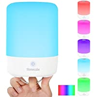Homecube LED Bedside Lamp with Power Bank,Touch Sensor LED Table Lamp Color Changing RGB with Hook