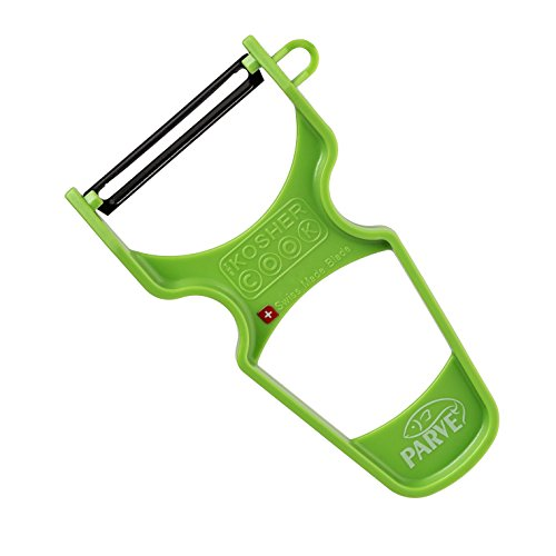 Peeler Carbon - Parve Green Y Vegetable Peeler - Heavy Duty, Ultra Sharp Carbon Steel Swiss Blade, Ergonomic Plastic Handle - Color Coded Kitchen Tools by The Kosher Cook