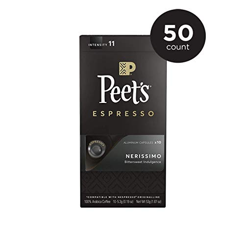 Peet's Coffee Espresso Capsules Nerissimo, Intensity 11, 50 Count Single Cup Coffee Pods Compatible with Nespresso Original Brewers