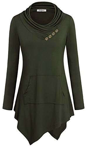 Hellmei Cowl Neck Sweatshirt for Women, Ladies Long Sleeve T Shirt Button Embellished Knit Top Jersey Pleat Pullover Cute Clothes Fashion Flowy A-Line Tunic Blouses for Office Green (Embellished Long Sleeve Jersey T-shirt)