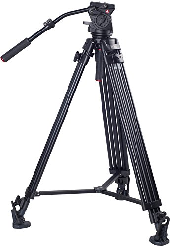 Max Fluid (Kingjoy Professional Video Tripod, Heavy Duty Tripod System with 360-Degree Panoramic Fluid Head, Max Height 79 Inches, Load up to 44 LBS for DSLR Camcorder Video Shooting Photography.)