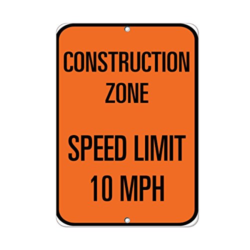 Construction Zone Speed Limit 10 Mph Traffic Sign Aluminum METAL Sign 18 in x 24 in from Fastasticdeals
