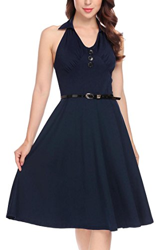 BURLADY Line Navy Retro Dress Floral Blue Fit A Flare Sleeveless Patchwork Women's Belt rRYHxTr